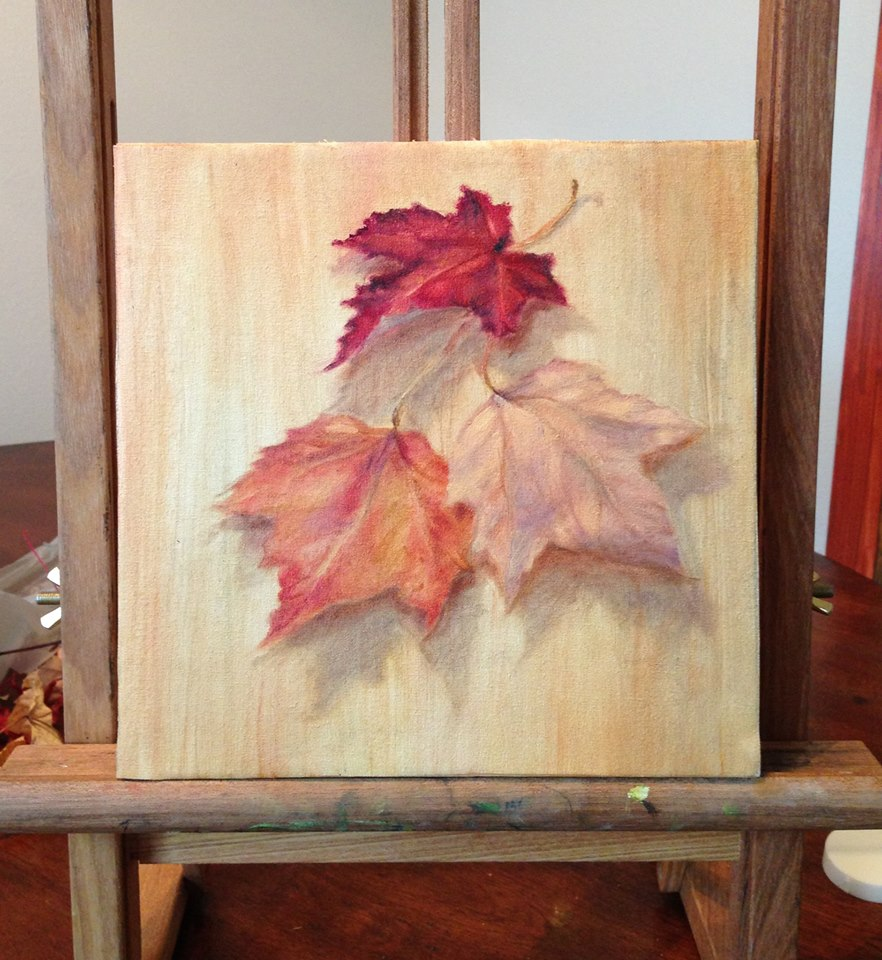 Study of Fall Leaves, 8''X8'' Oil on Linen