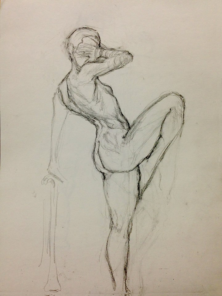 Graphite Drawing of female dancer, nude