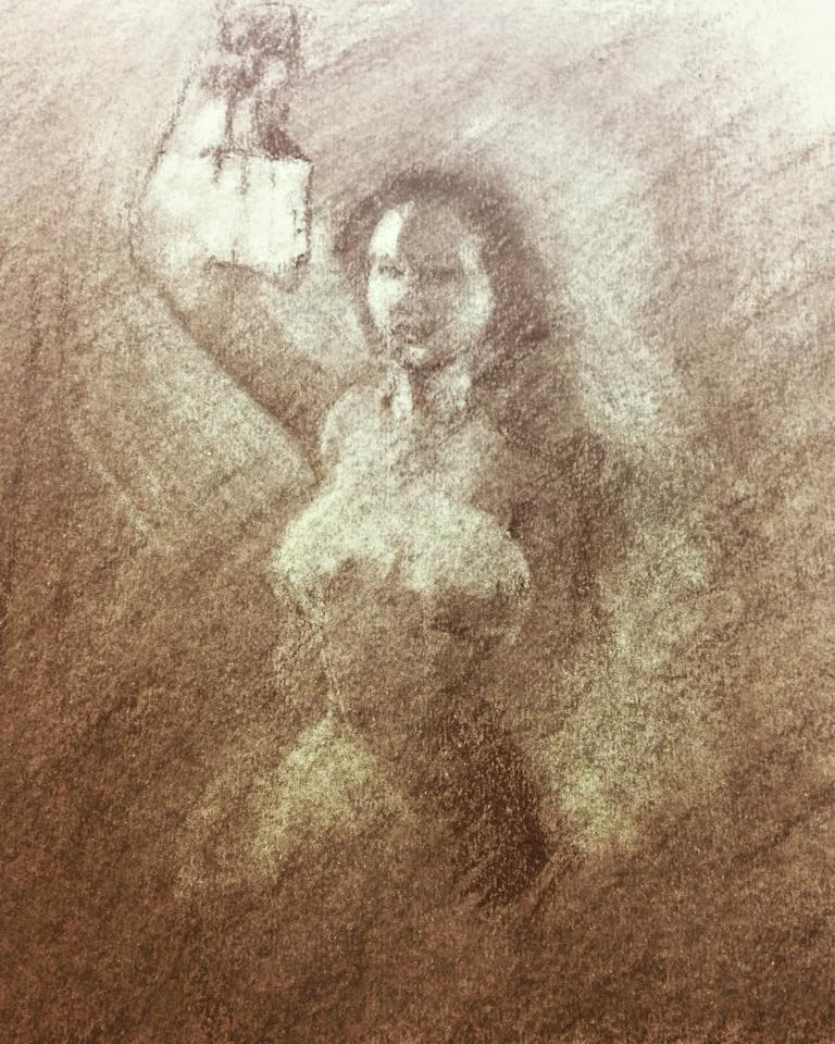 Lantern Light, Pastel Drawing
