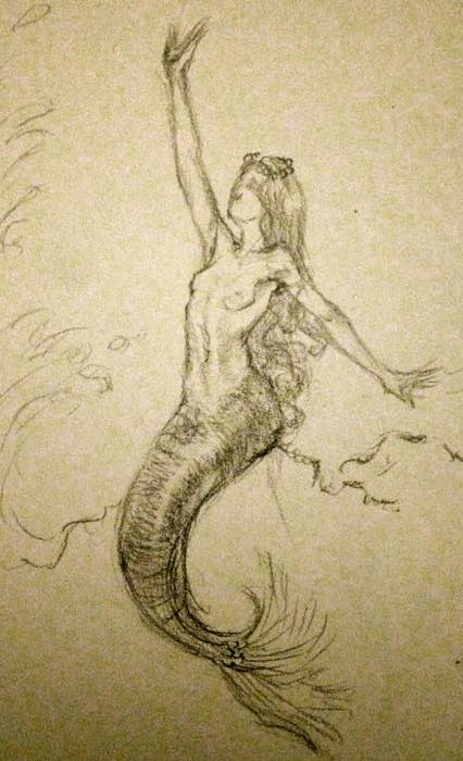 Mermaid Sketch in Graphite