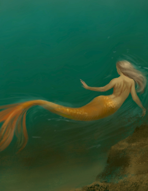 Mermaid Swimming figurative fantasy Digital Art by Ifat Glassman