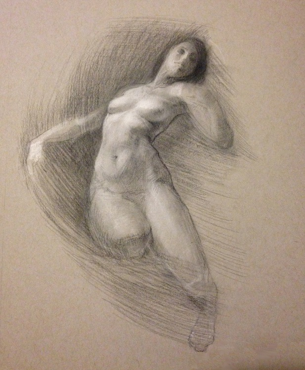 Pastels on Toned Paper Nude Female Drawing Sketch s