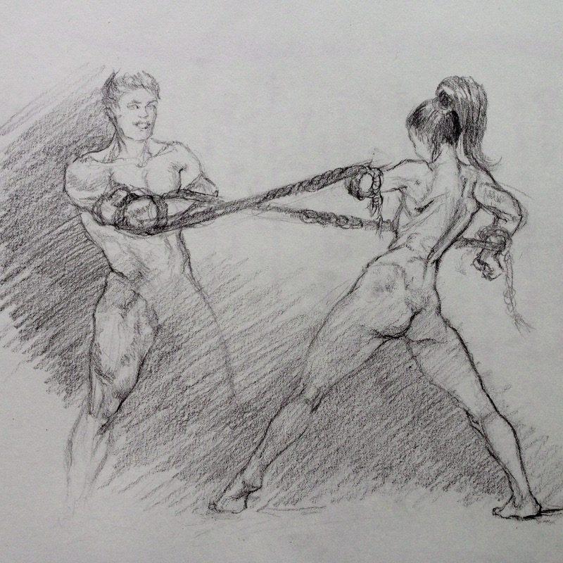 'Power Struggles', figure sketch in graphite