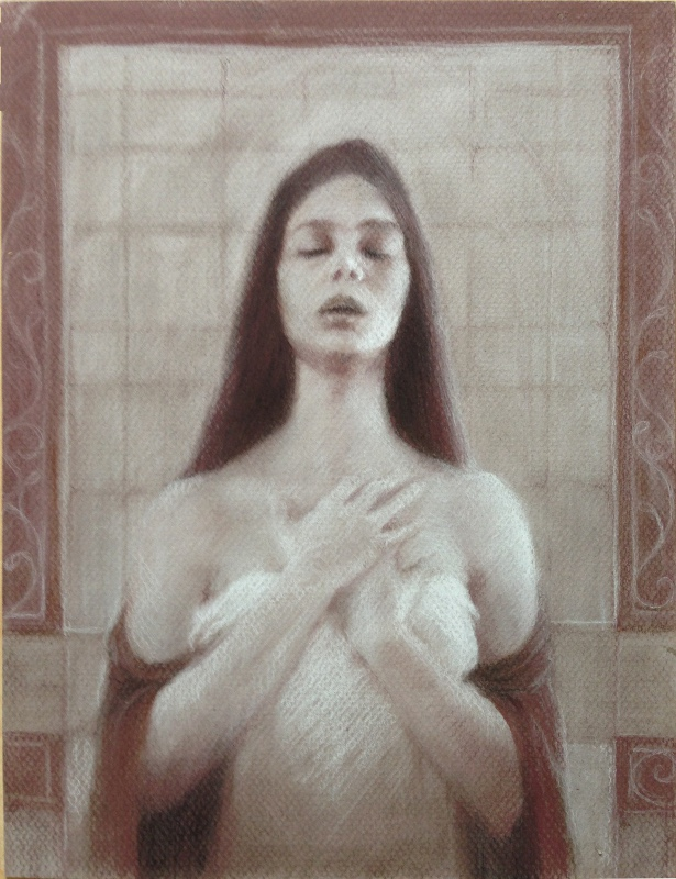A non-theist Prayer, 9''x12'' Pastels on toned paper