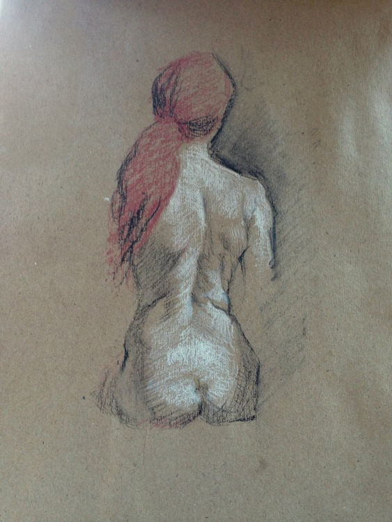 Drawing of Female Nude from Life, pastel on toned paper